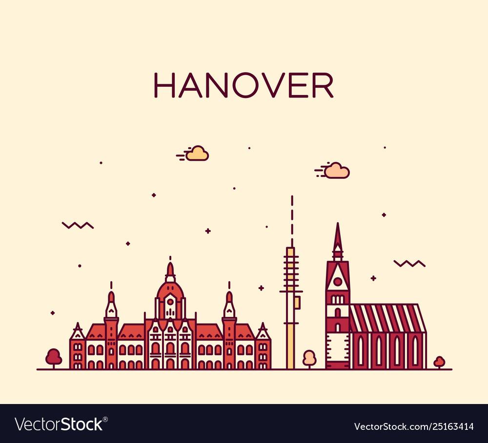 Hanover skyline lower saxony germany linear