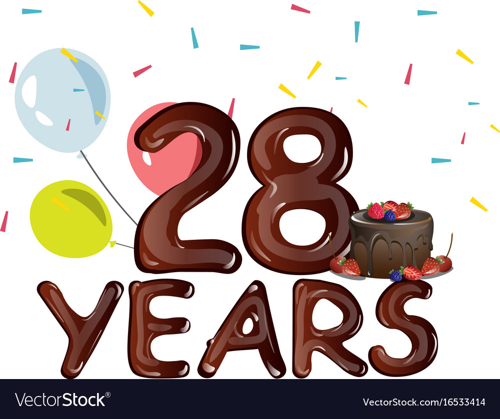 Happy birthday twenty eight year vector image