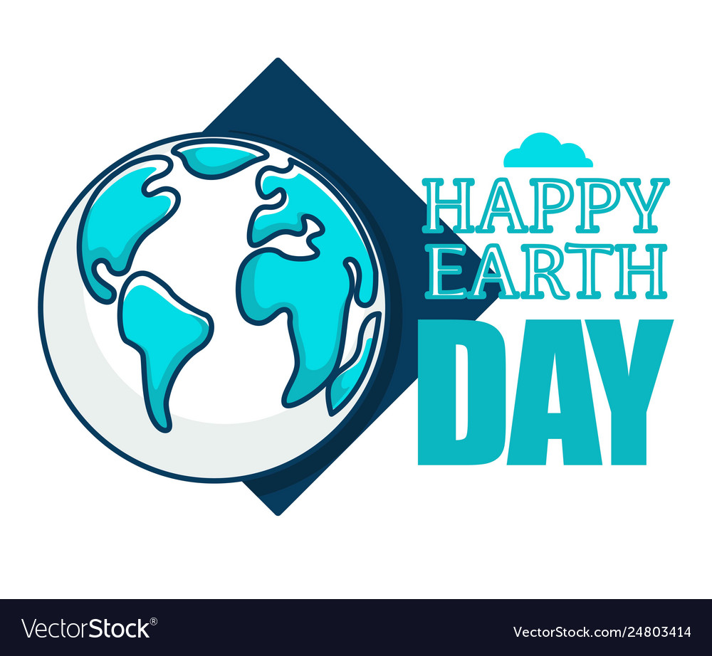 Happy earth day isolated icon planet ecology and