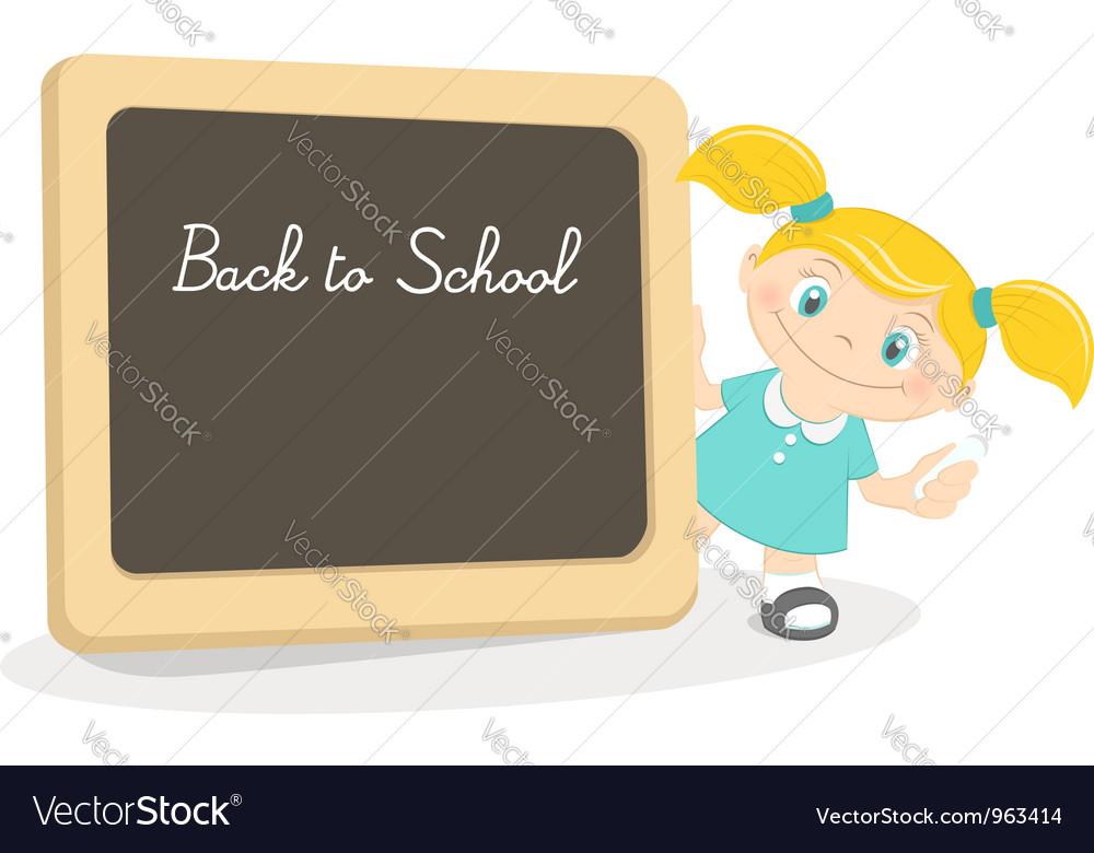 Little girl and school blackboard