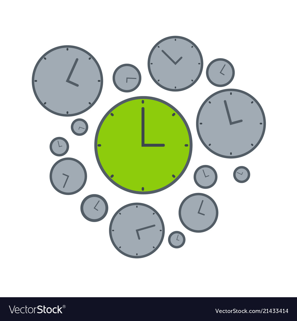 Right time on green clock isolated