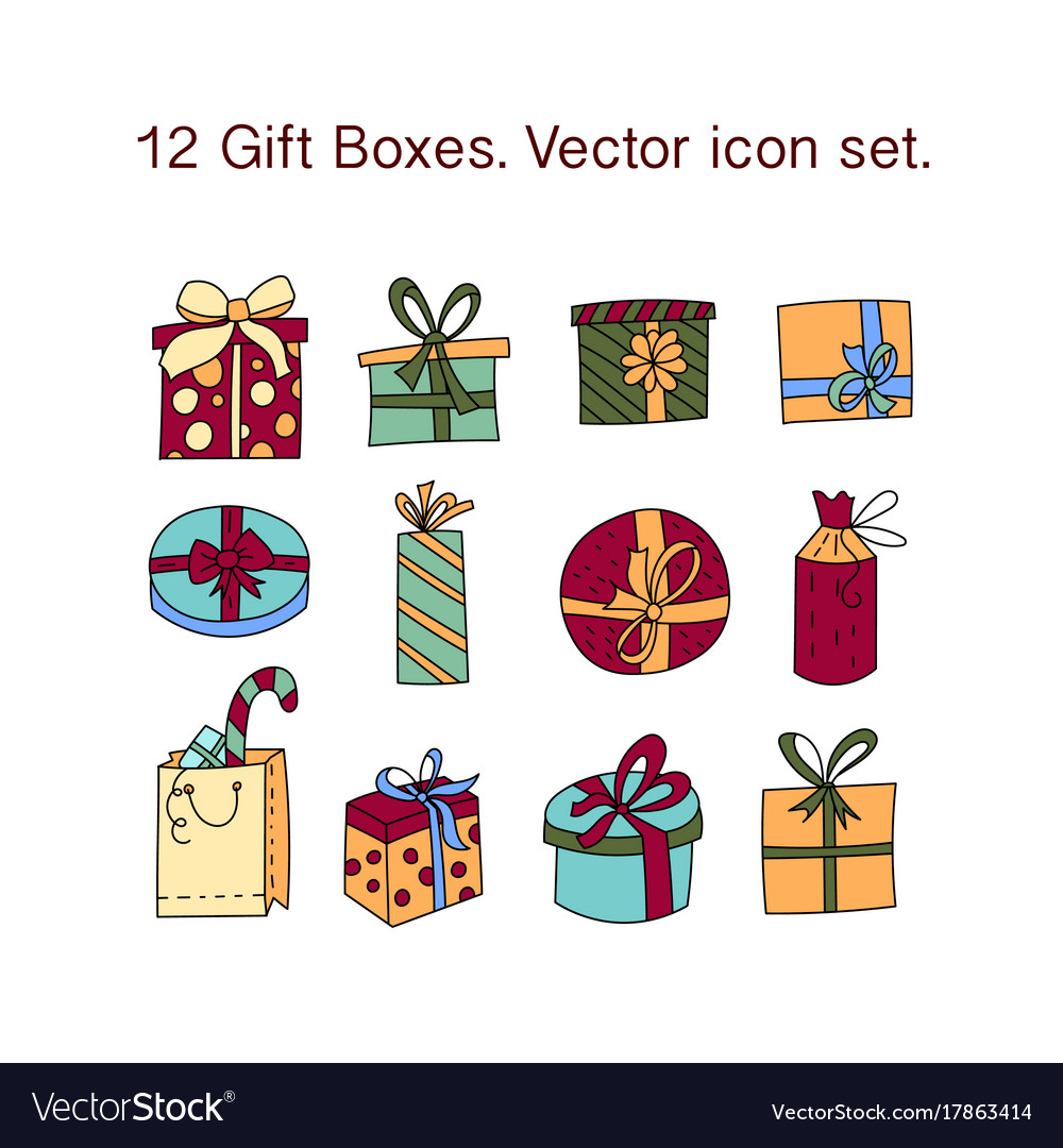 Simple set of gifts thin line icons gift