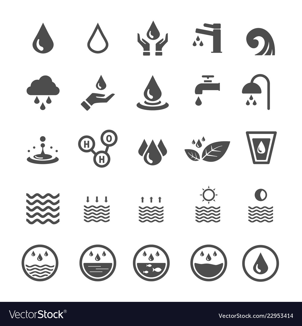 Water icons nature and energy saving concept
