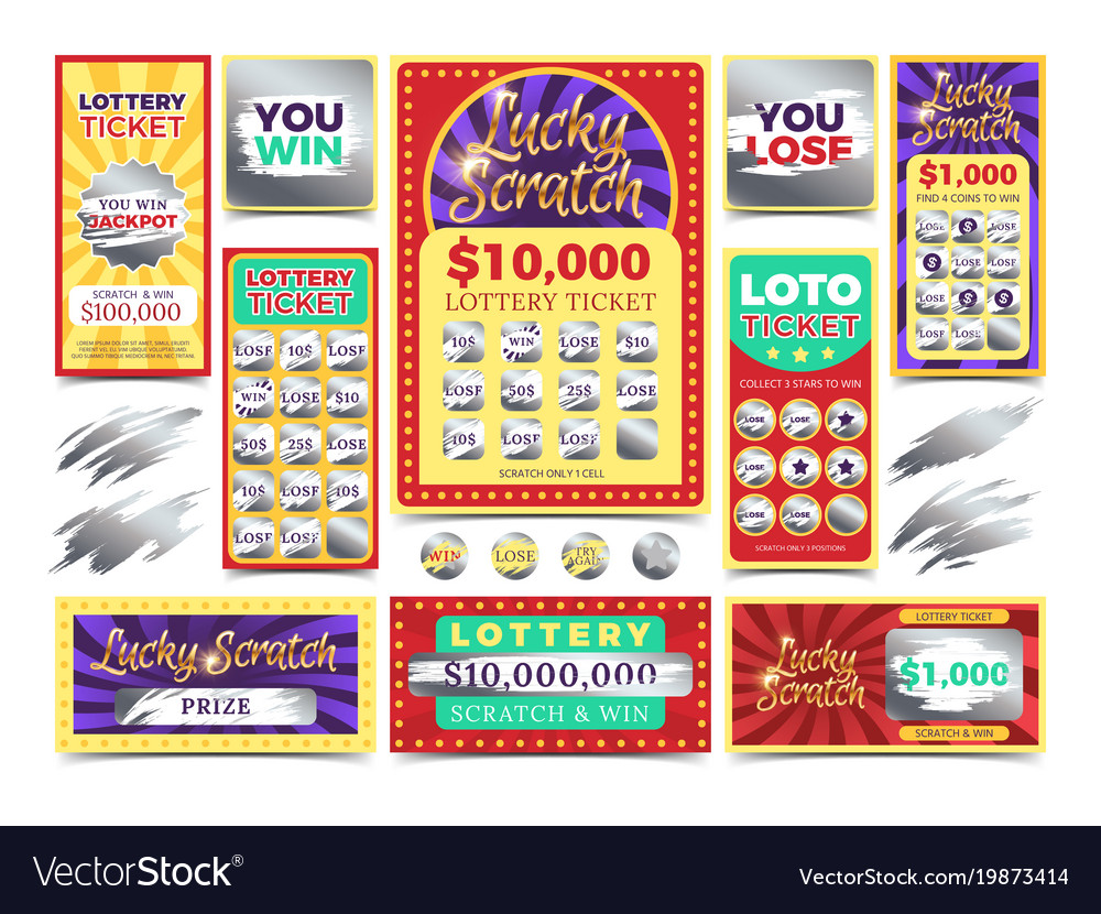 Winning scratching lottery tickets vector image