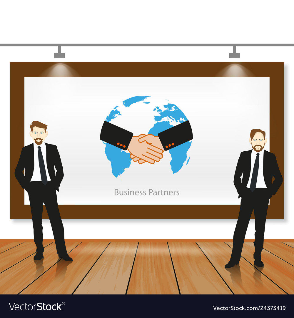 A business team working in partnership