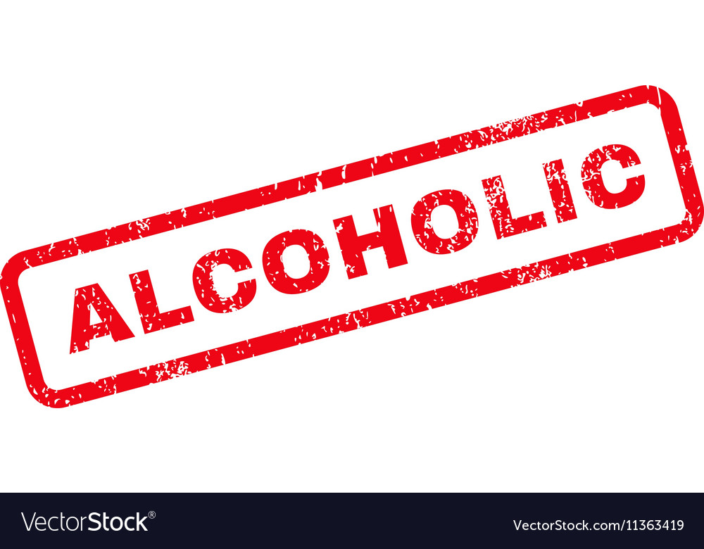 Alcoholic Text Rubber Stamp