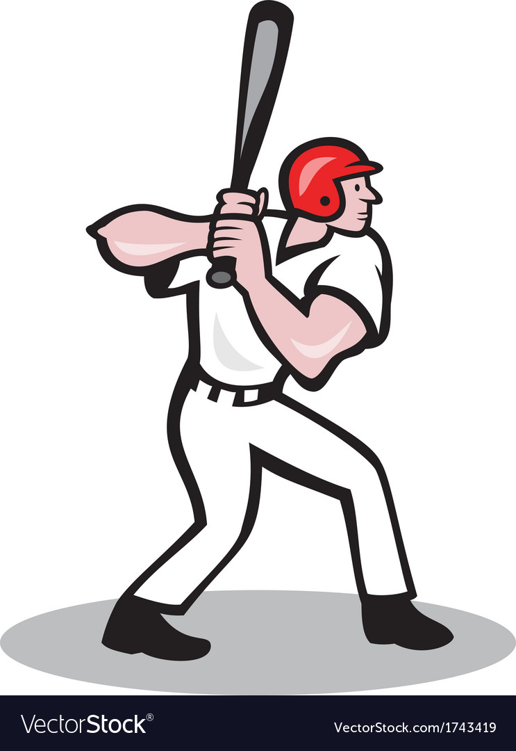 baseball player batting side cartoon royalty free vector rh vectorstock com baseball player vector art free baseball player victor pellot power