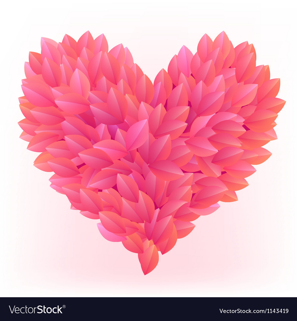 Beautiful heart made from pink petals