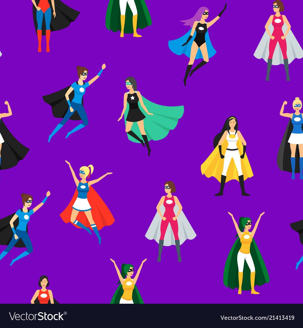 Cartoon female superhero seamless pattern