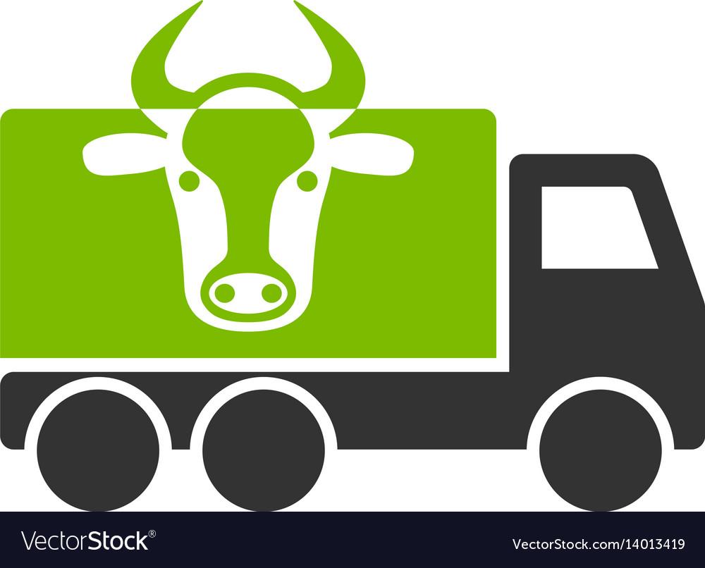 Cow transportation flat icon