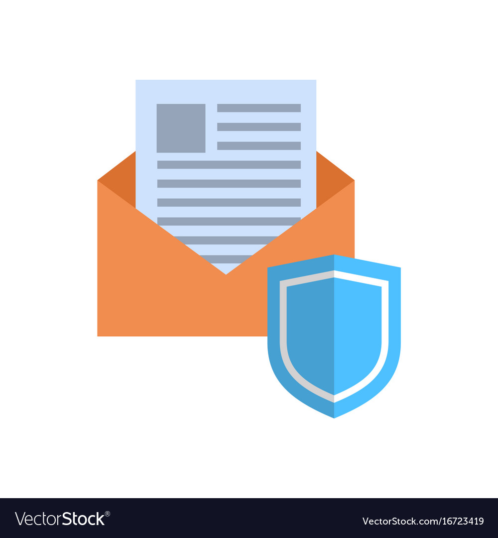 Envelope with shield icon mail data protection vector image