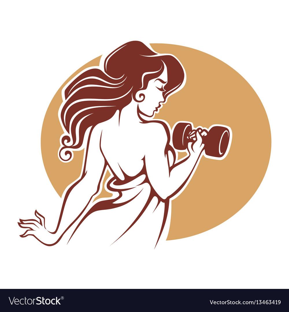 Fitness goddes female gym logo template in