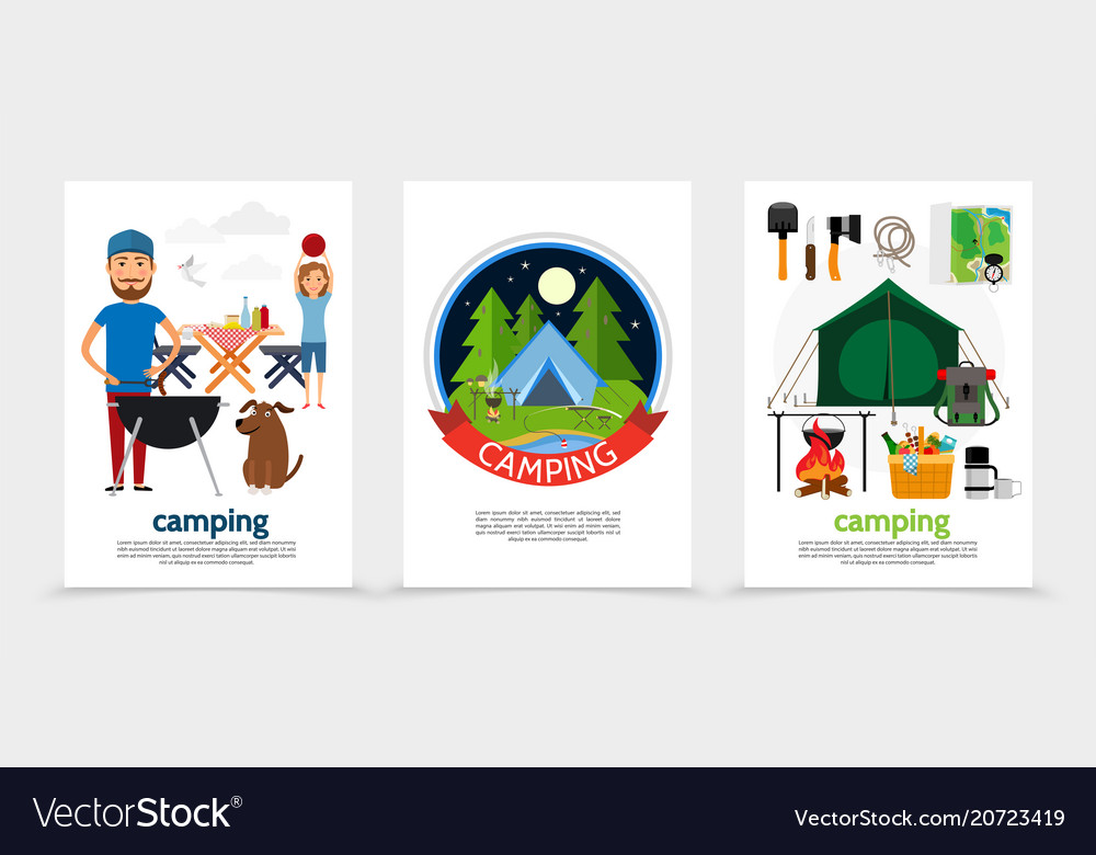 Flat outdoor recreation posters