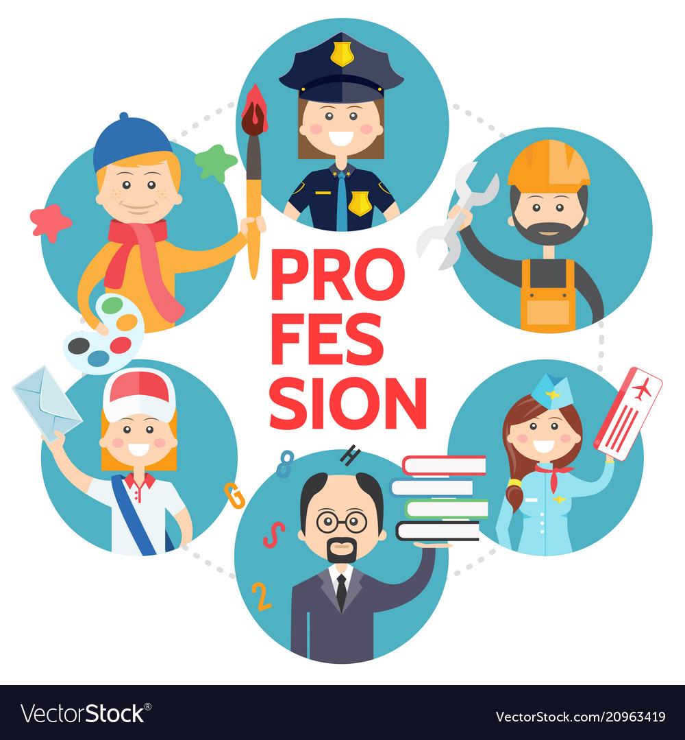 Flat profession avatars round concept