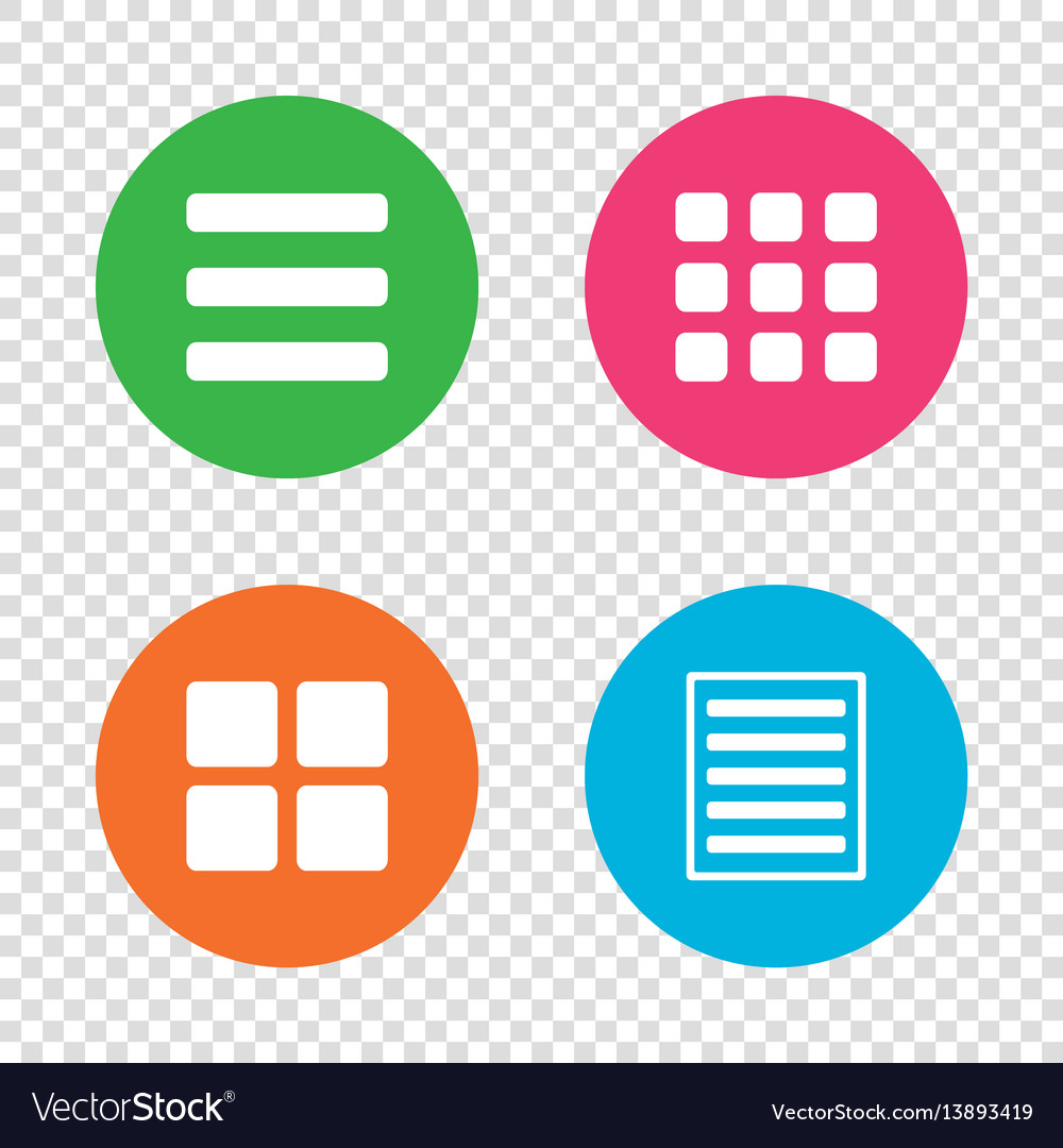 List menu icons content view options