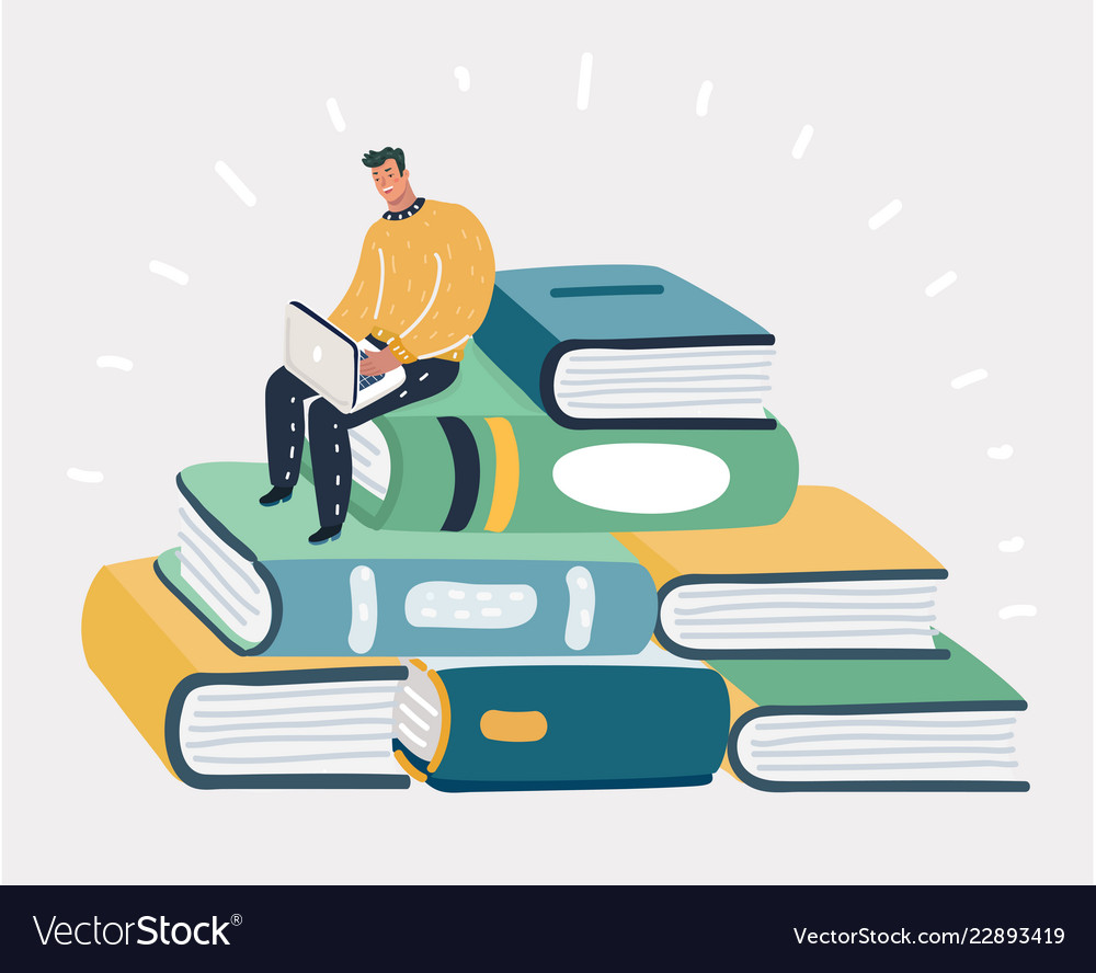 Man sit at pile of the books