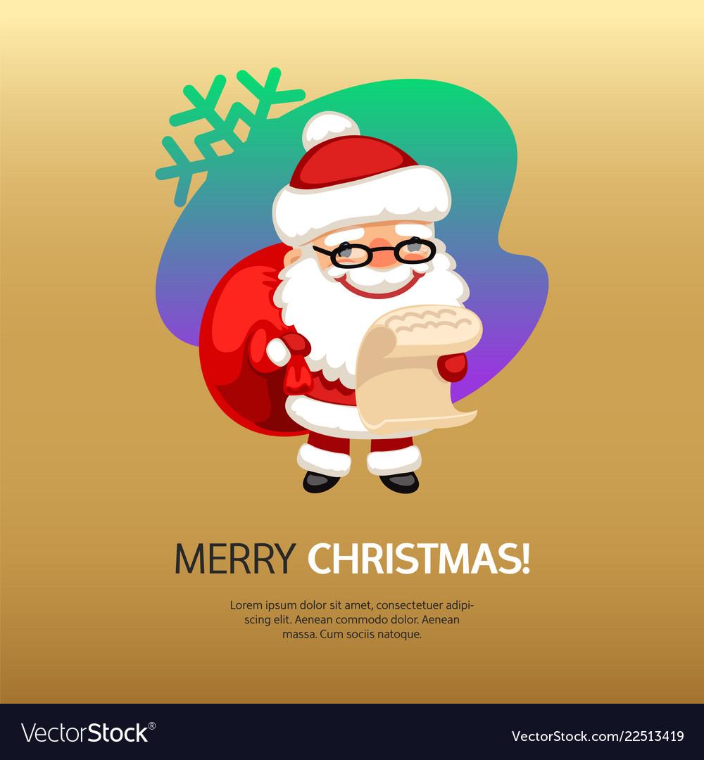 Merry christmas card santa claus with bag