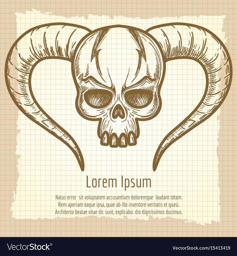 Monsters skull on vintage background