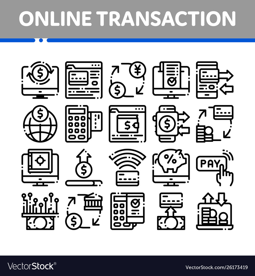 Online transactions thin line icons set