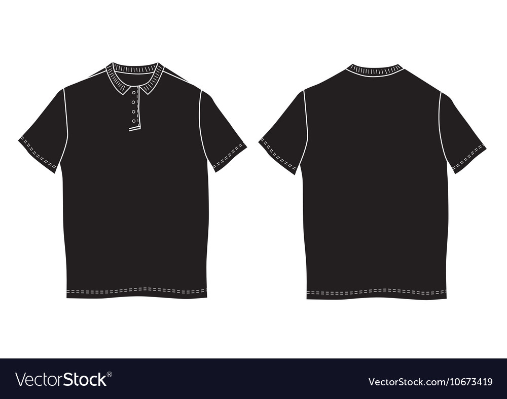 Polo shirt template front and back views vector image for Polo shirt design template