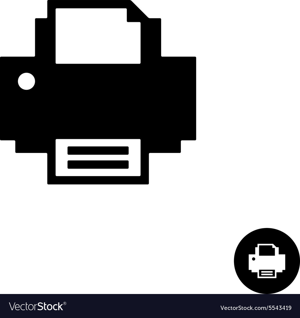 Printer simple black silhouette icon