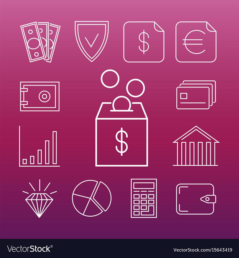 Safe money line art icons