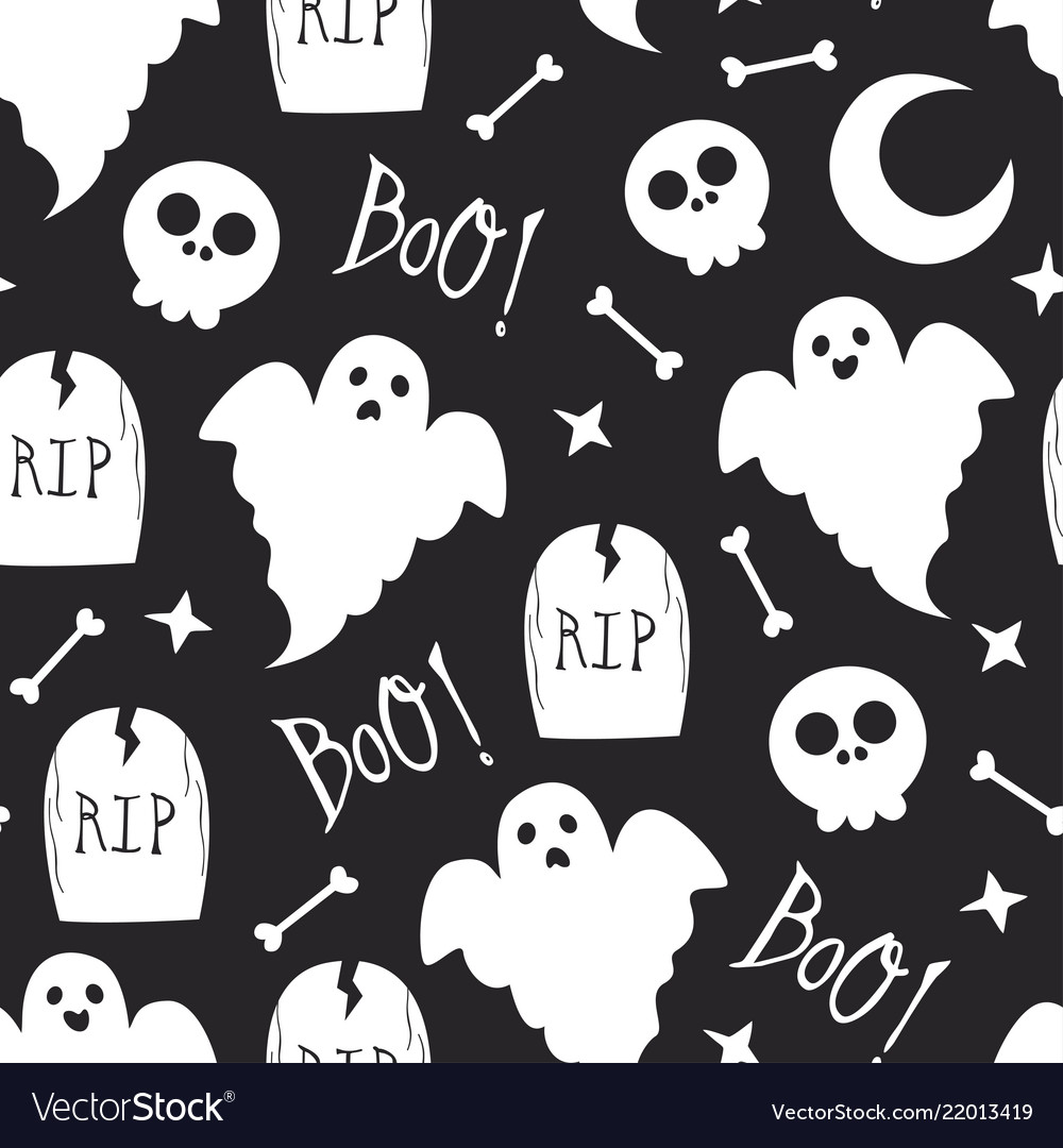 Seamless halloween pattern with skull and ghost