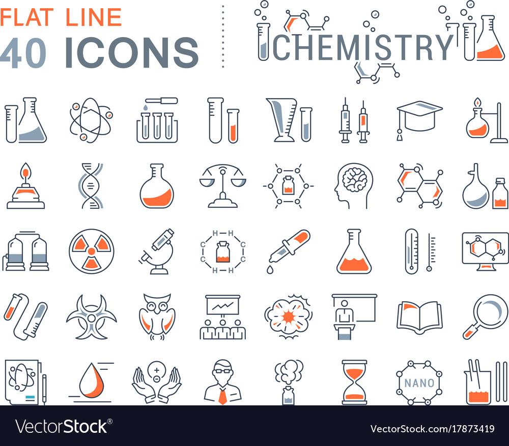 Set flat line icons chemistry