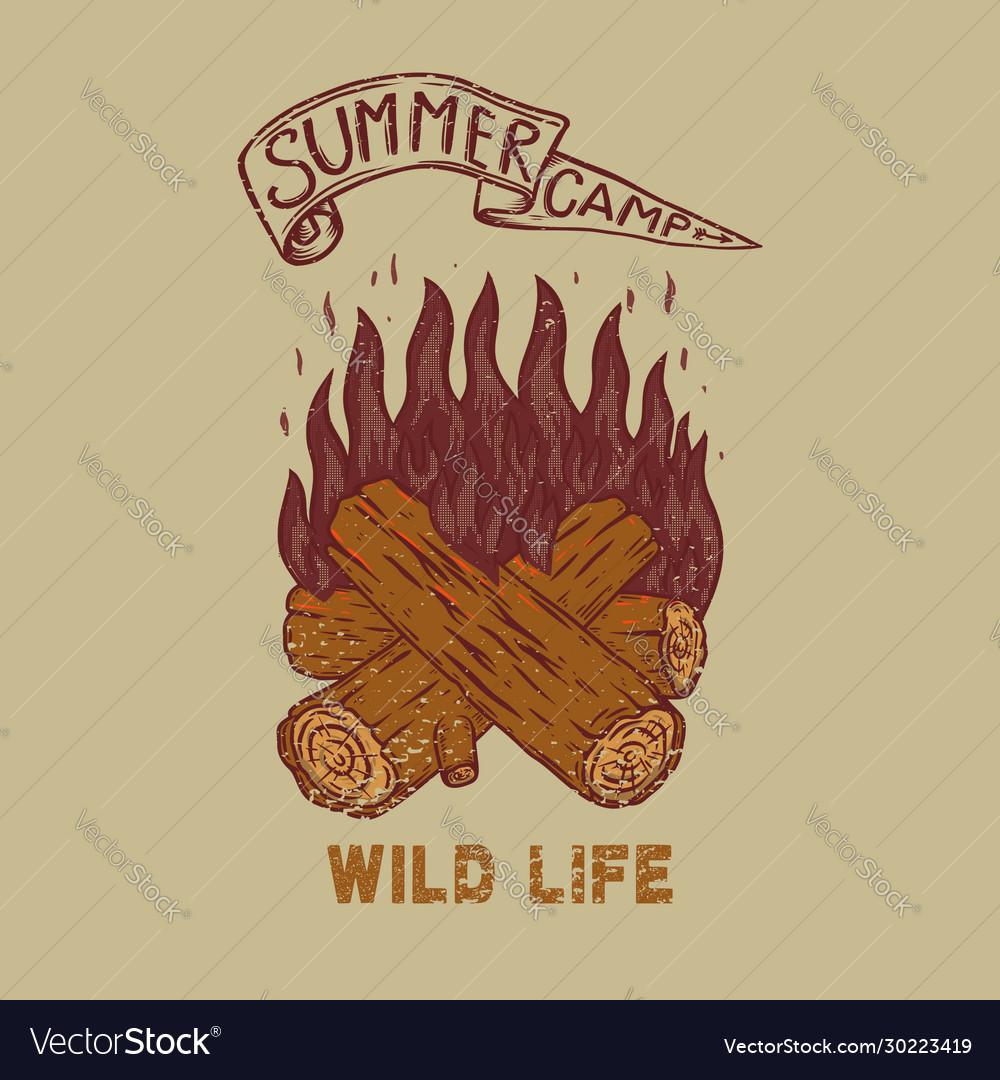 Summer camp wild life vintage design