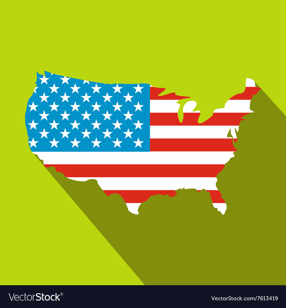USA map flag flat icon Royalty Free Vector Image