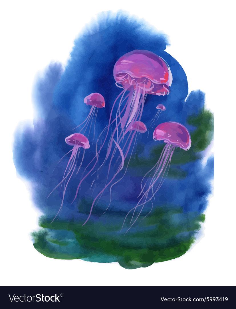 Watercolor Hand drawn jellyfish at Sea