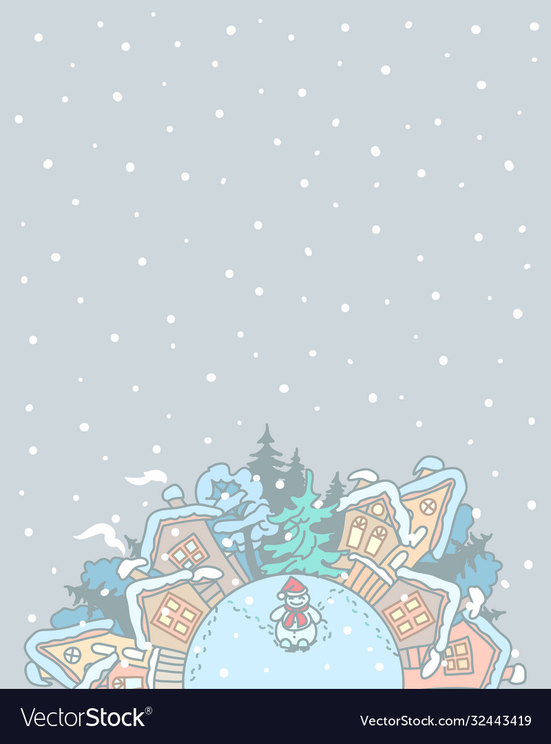 Winter village landscape with a snowman