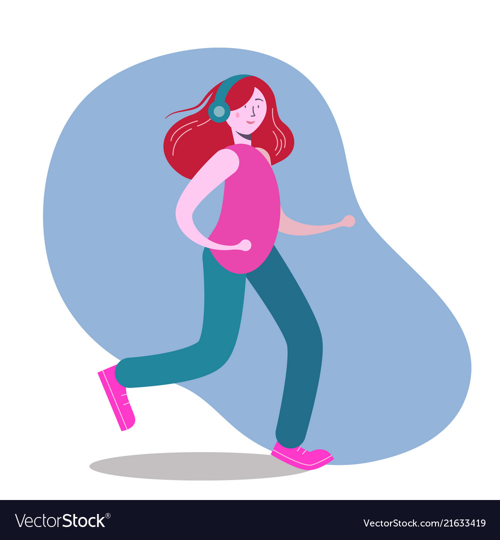 Woman in headphones running and listening music