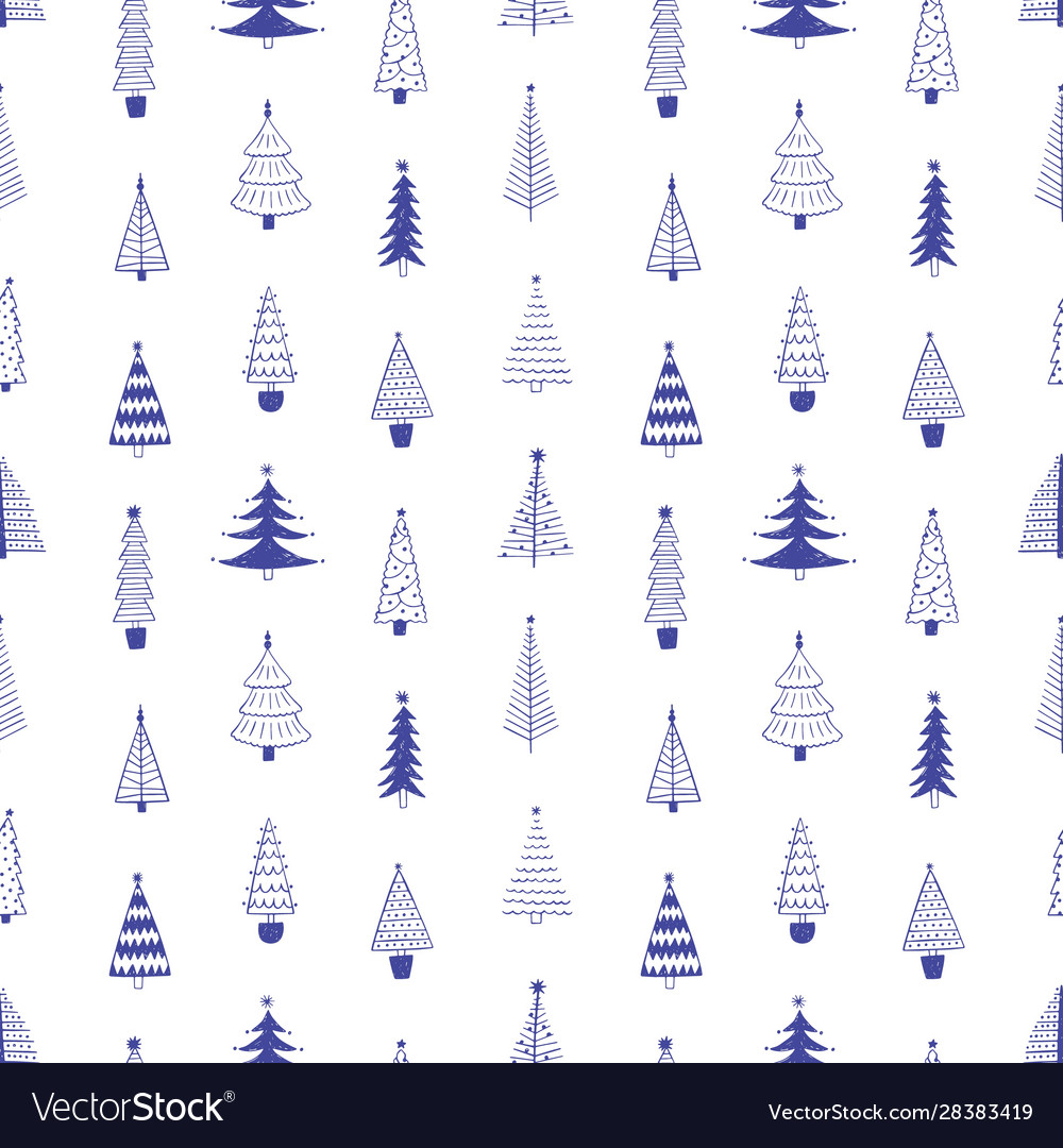 Xmas trees hand drawn seamless pattern
