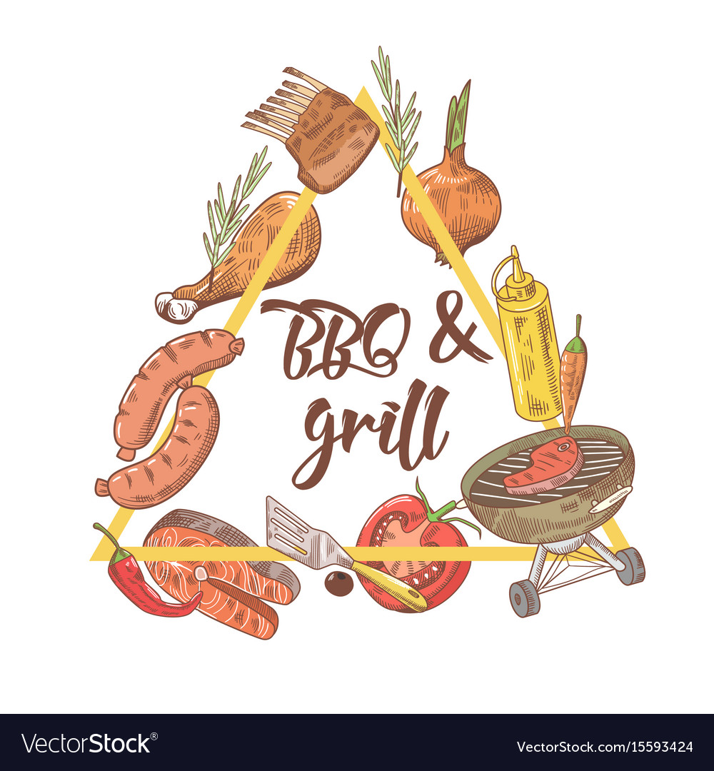 Bbq and grill hand drawn design with steak