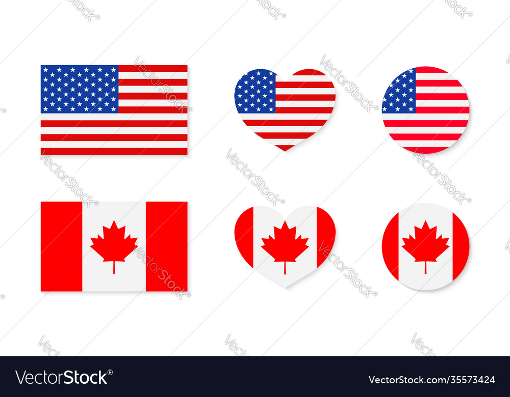 Canada and usa flags north america canadian