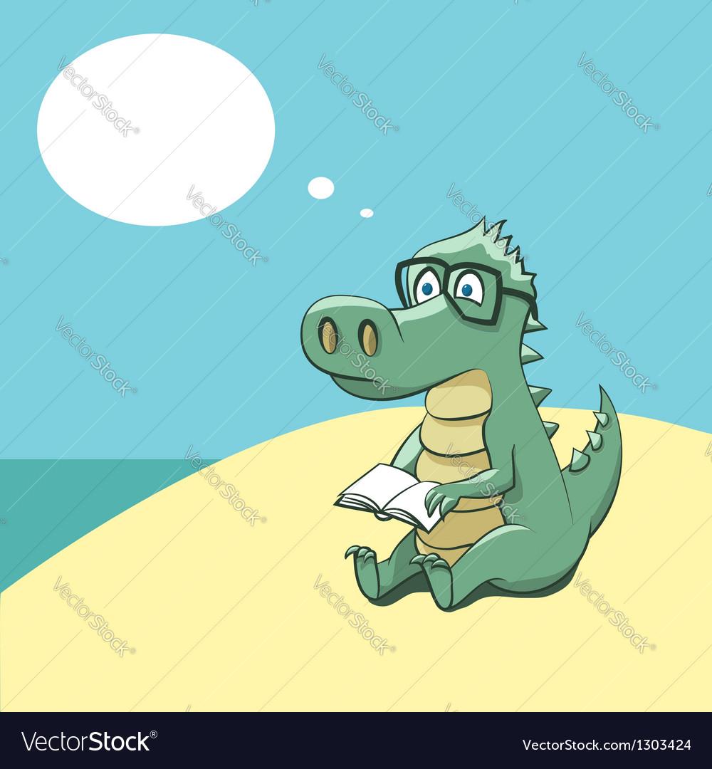 Crocodile with a book