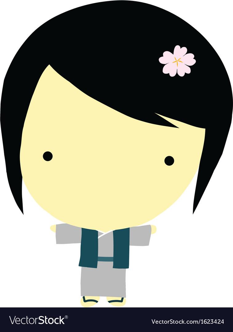 Cute little japanese girl vector image