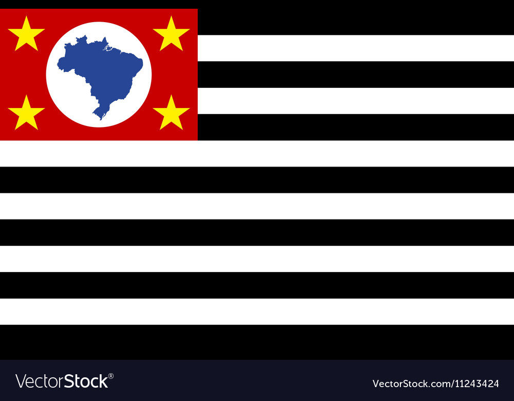 Flag of Sao Paulo Brazil state correct size color vector image