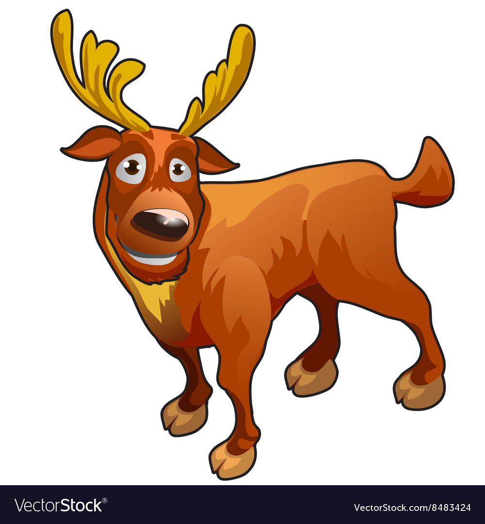Funny cartoon deer with yellow horns
