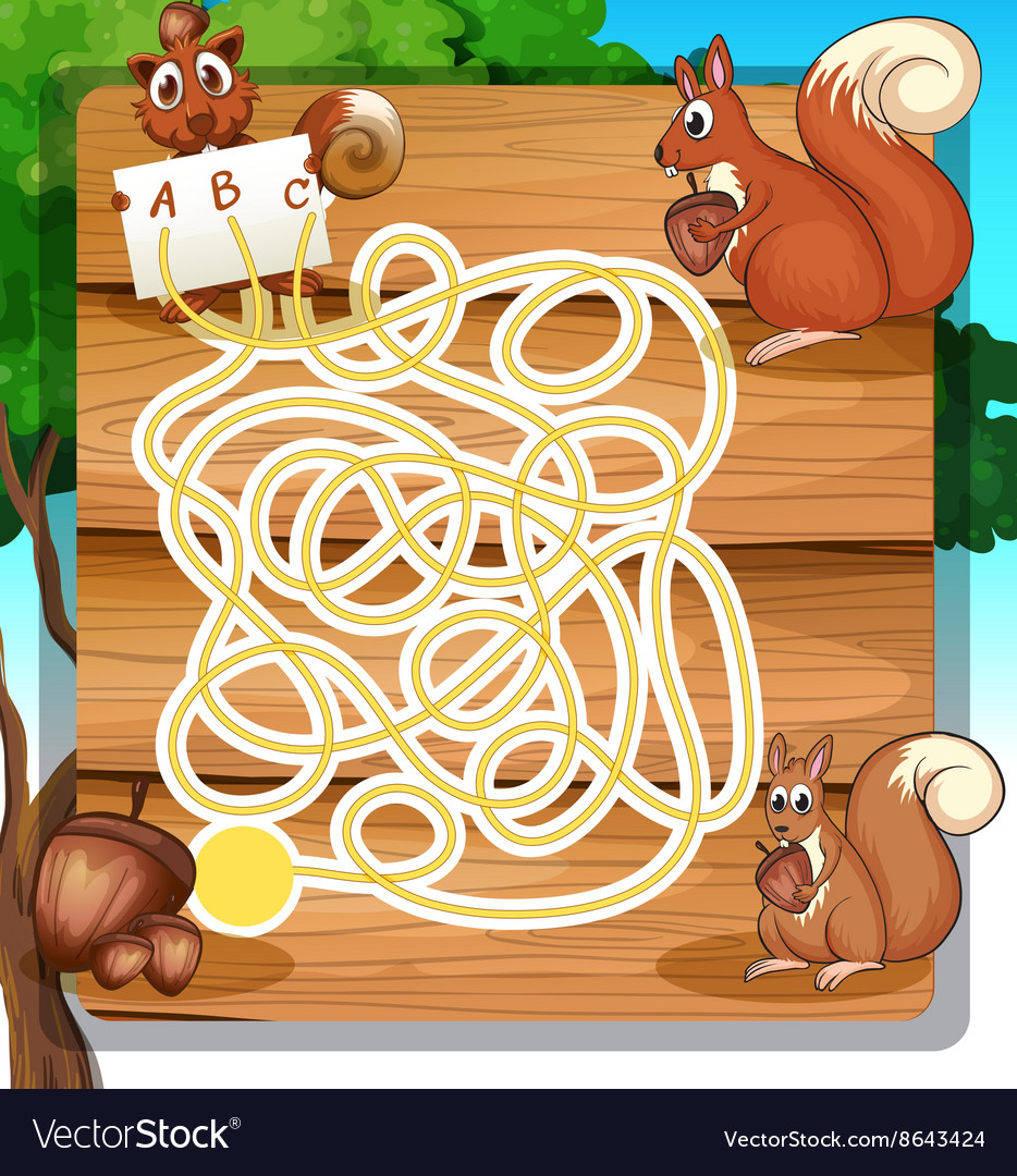 Game template with squirrels and nuts vector image