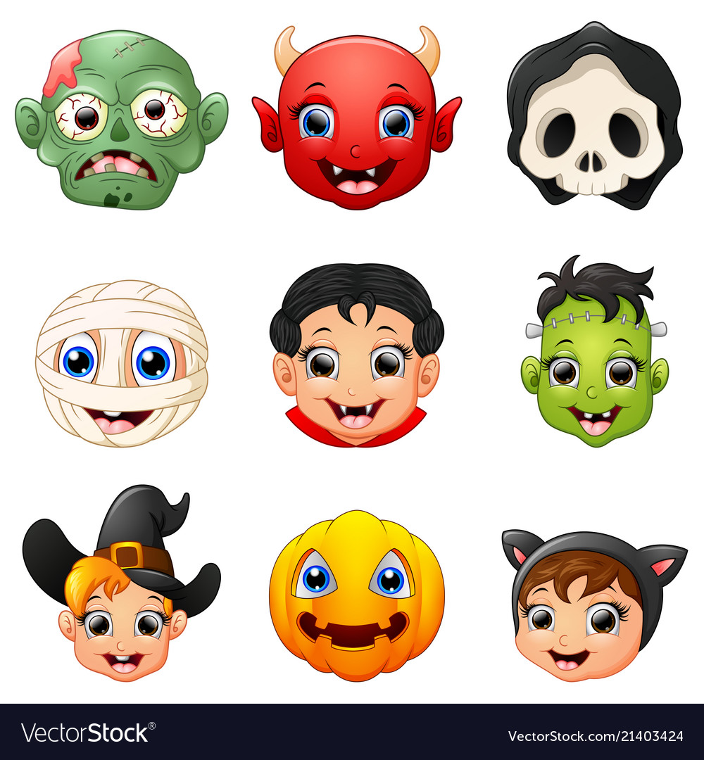 Halloween character face set
