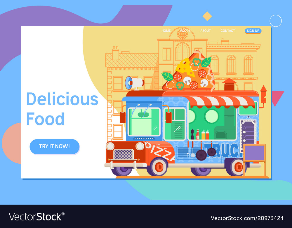 Landing page template of colorful flat pizza truck