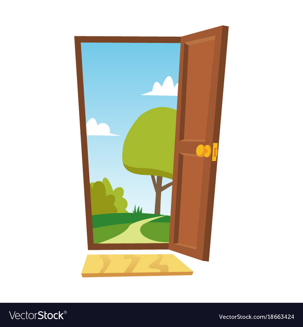 opened door cartoon flat summer landscape vector image