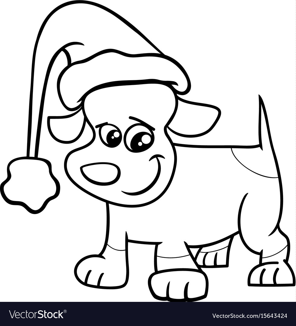 Puppy On Christmas Coloring Page Royalty Free Vector Image