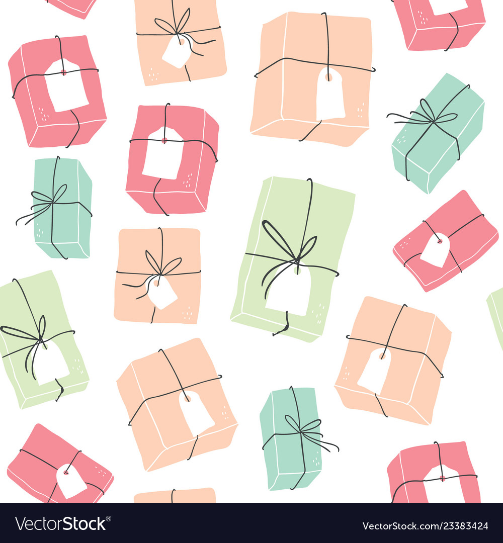 Seamless pattern with colorful hygge gift boxes