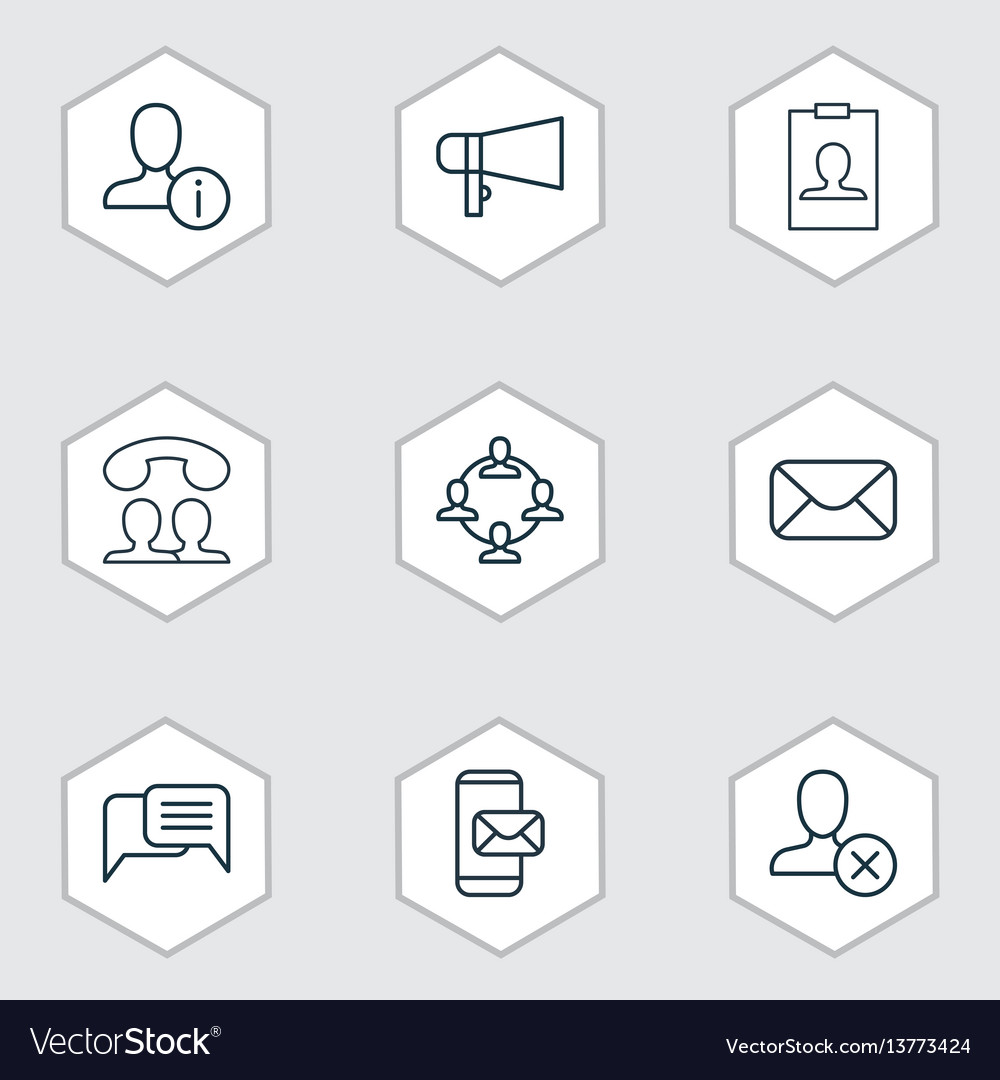 Set of 9 communication icons includes bullhorn vector image