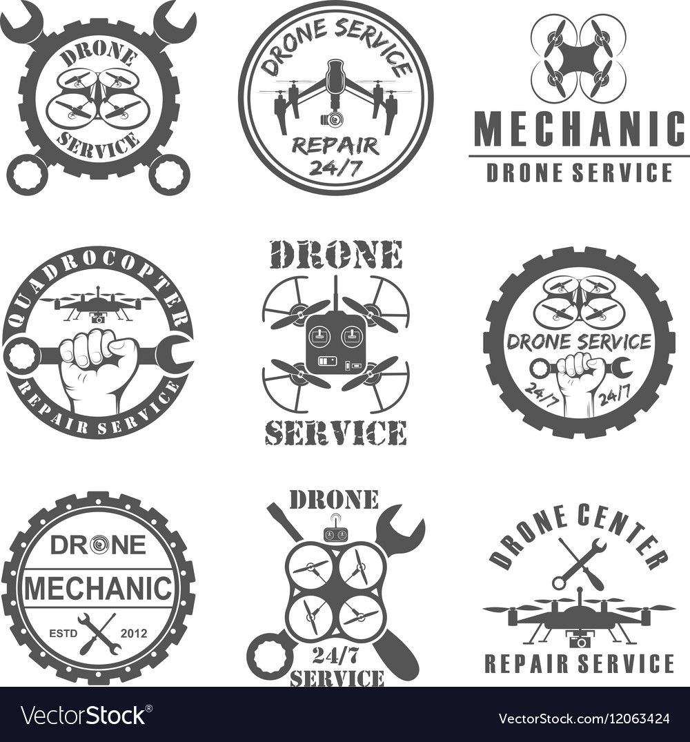 Set of drone logos badges emblems and design