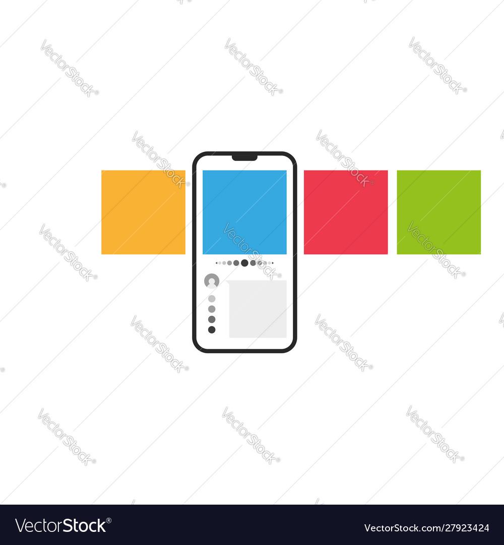 Smartphone with multicolored square web carousel