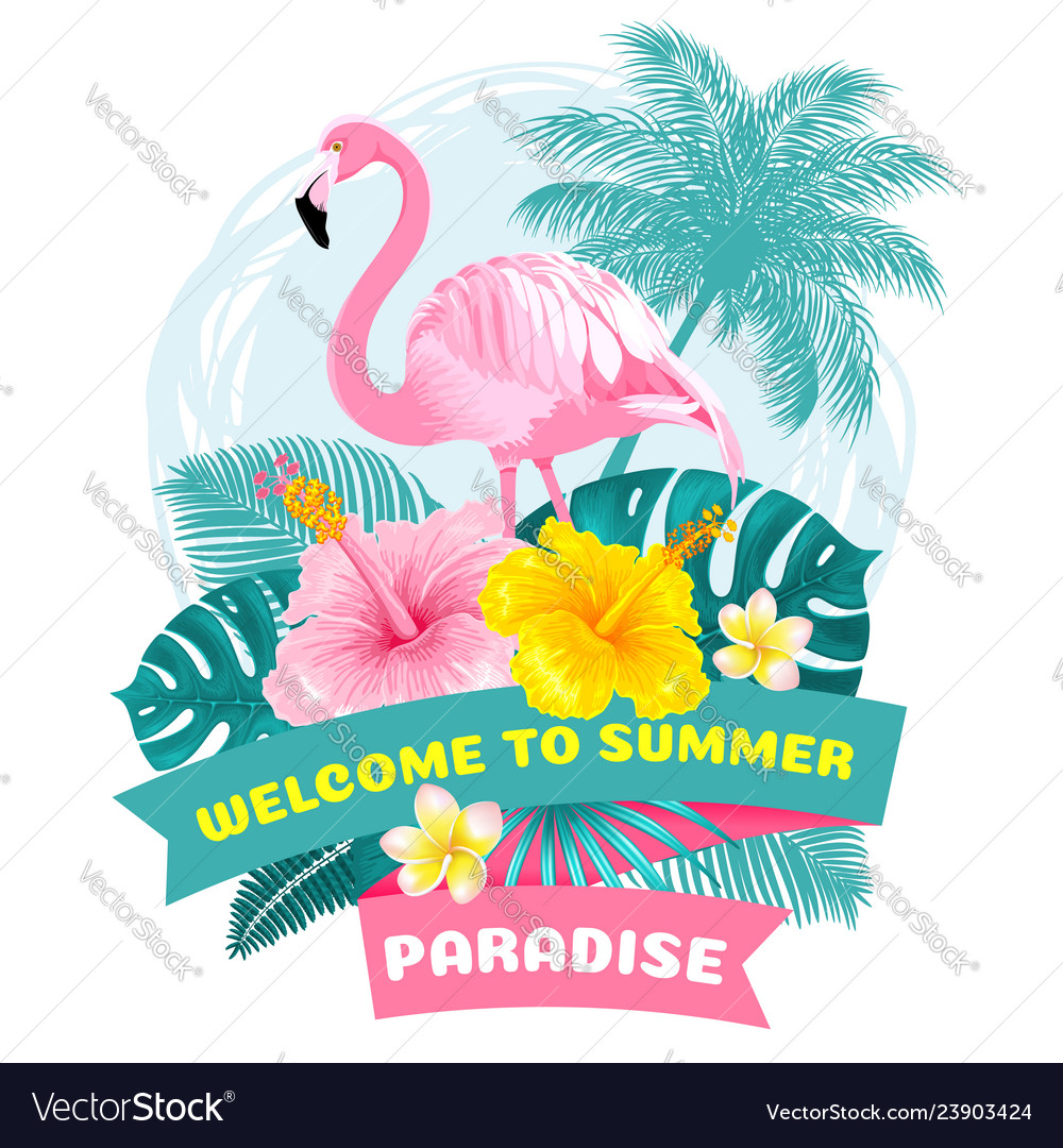 Summer tropical welcome label